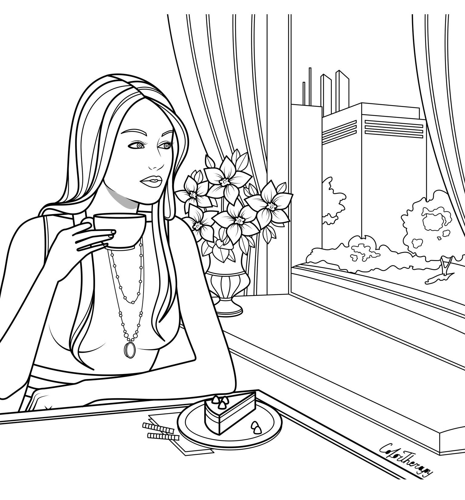 The Sneak Peek For The Next Gift Of The Day Tomorrow Do You Like This One Woman Cafe Coloring Pages Easy Coloring Pages Barbie Coloring Pages