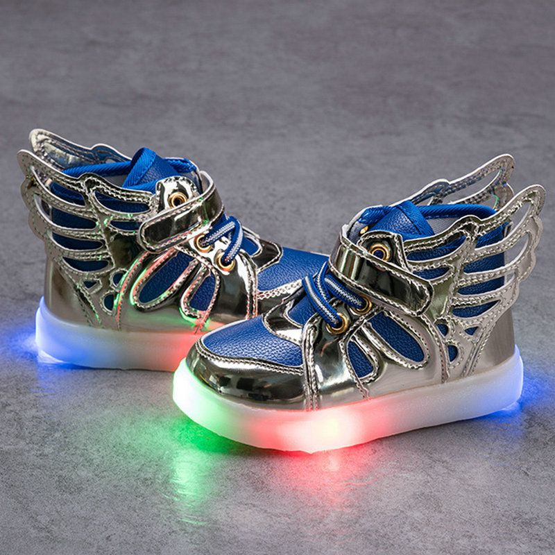 6 Color Children Shoes With Light Children Glowing Sneakers LED Kids  Lighted Shoes Toddler Boys LED Flashing Girls Wings Shoes