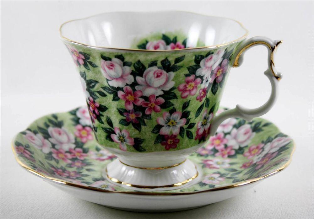 ♥ Royal Albert  Tea Cup and Saucer Garden Party Series Spring Song Gold Trim  #RoyalAlbert
