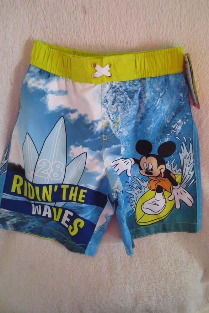 74017e0dcc Disney Mickey Mouse Toddler Baby Boy Swimming Short UPF 50 Size 4 T Blue New  #Disney #SwimBottoms