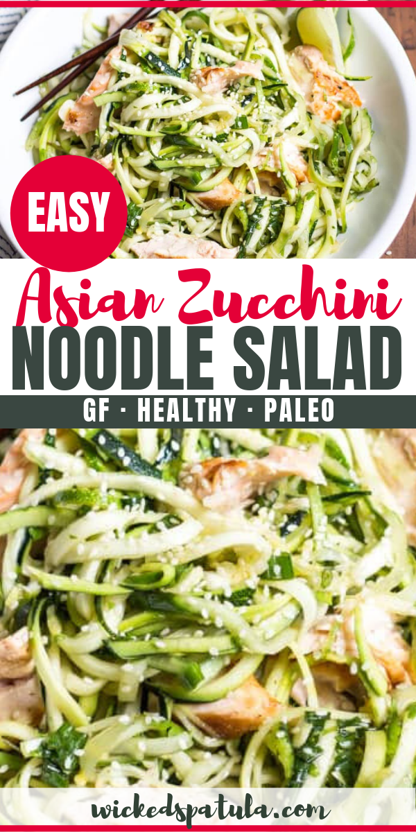 Asian Salmon Zucchini Noodle Bowl Asian Cold Zucchini Noodle Salad Recipe With Salmon - This cold zucchini noodle salad recipe is the perfect healthy meal! Light and filling, Asian zucchini noodles are ready in 15 minutes - it's the best way to make salmon and zucchini noodles.
