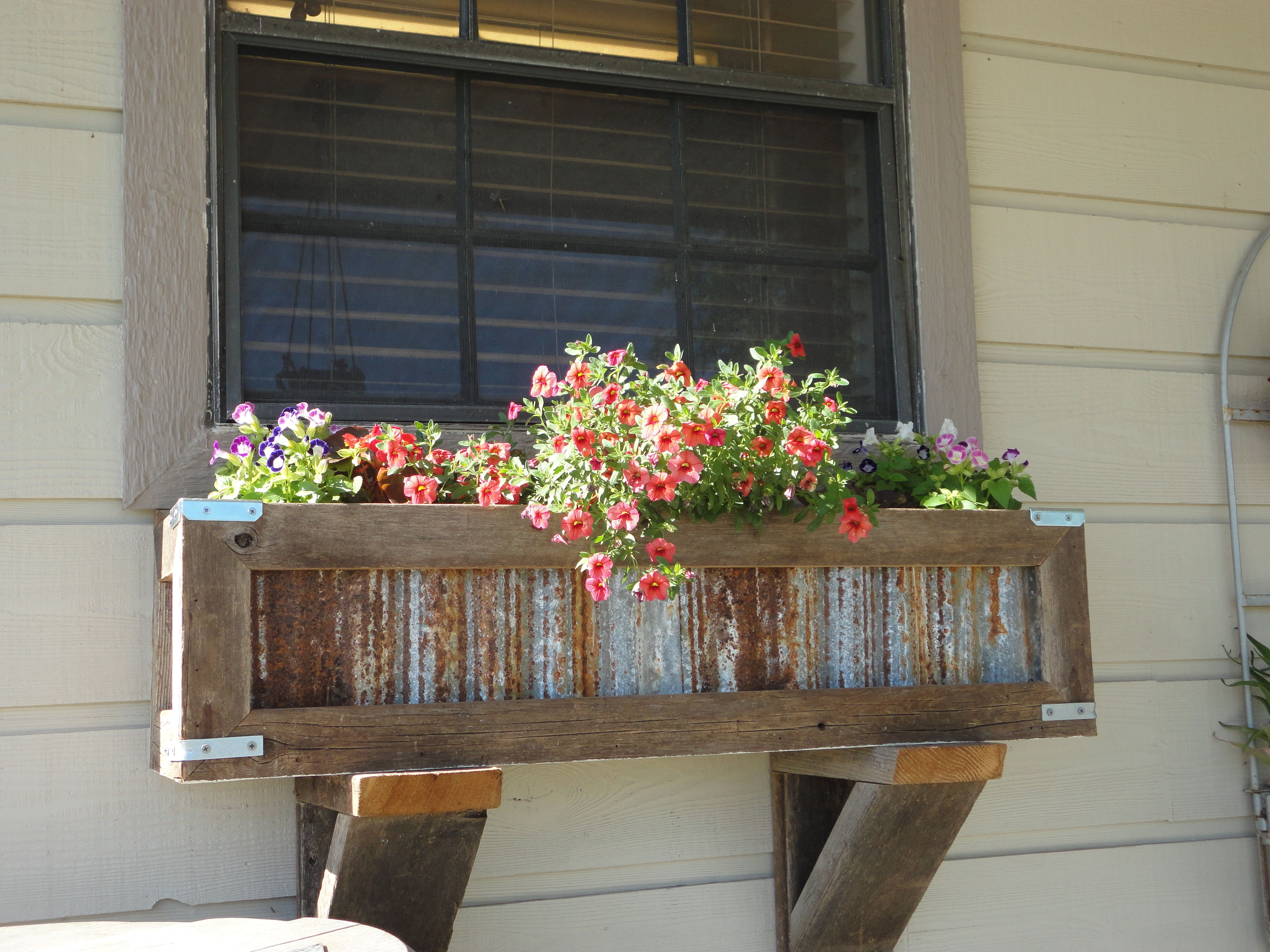 Handcrafted Rustic Window Box Planter For Kitchen Window Crafted Out Of Reclaimed Cedar And Tin To Order Cont Window Planter Boxes Window Crafts Rustic Window