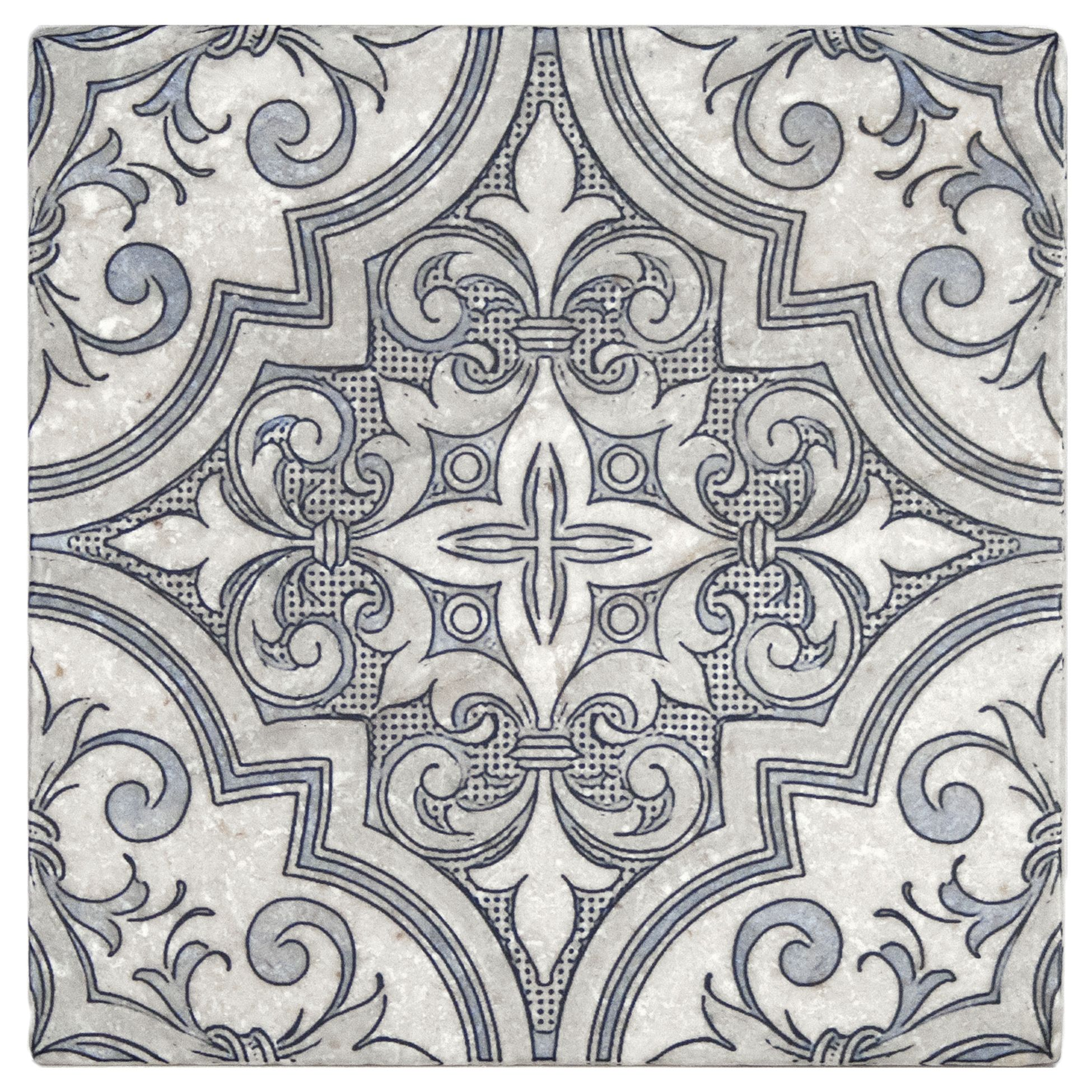 Designer Tile On French Limestone Perle Blanc 6x6 Or 12x12 Hand Crafted Designs
