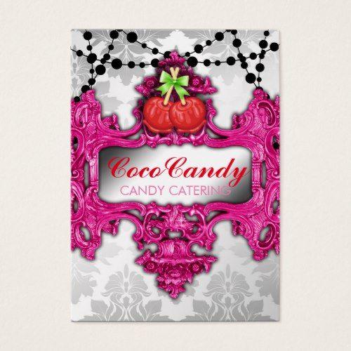 311 Candy Apple Pink Wonderland White Damask Business Card Zazzle