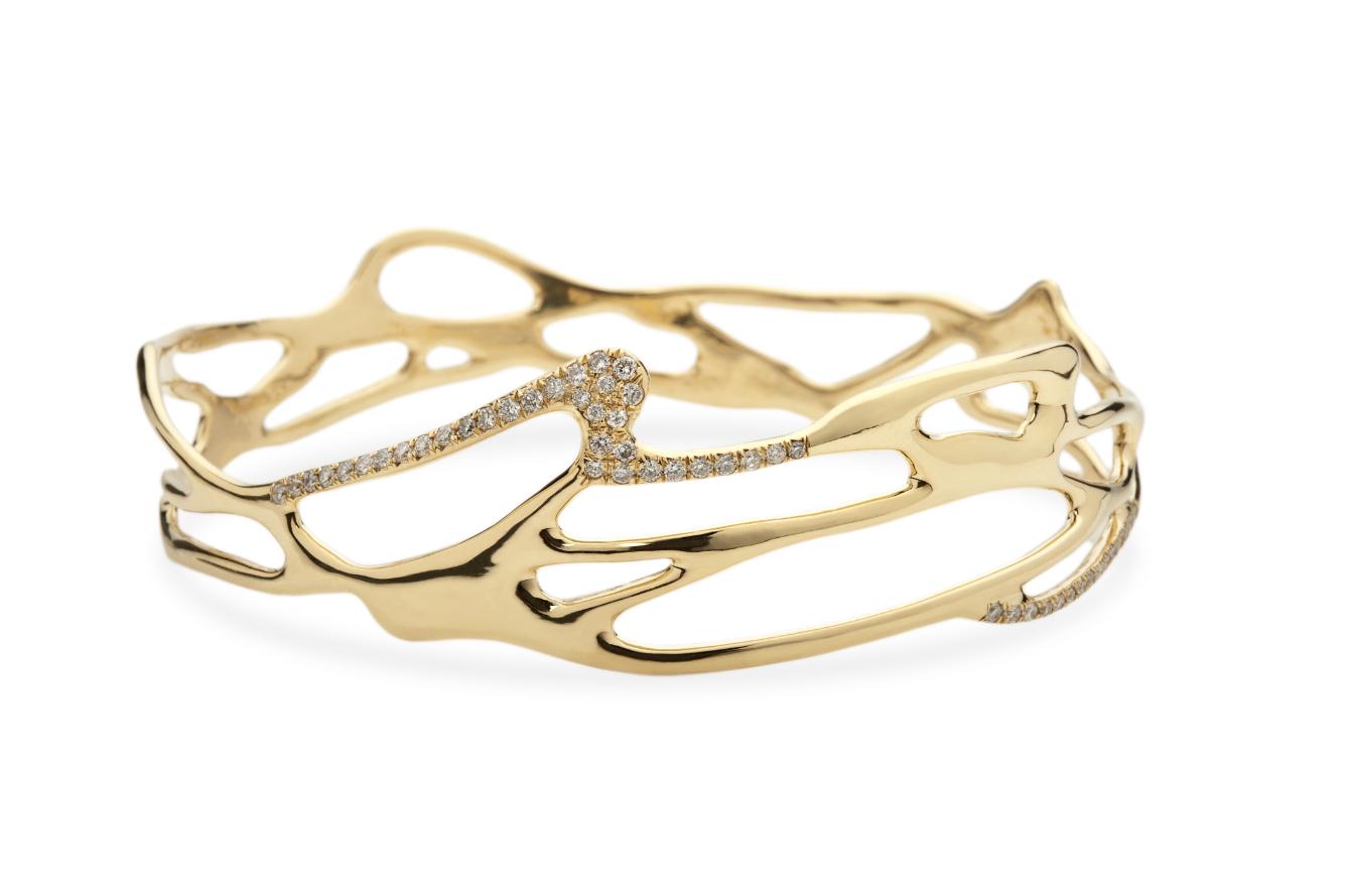 Ippolita   Drizzle Gold and Diamond Wave Bangle - Bangles - 18K Gold