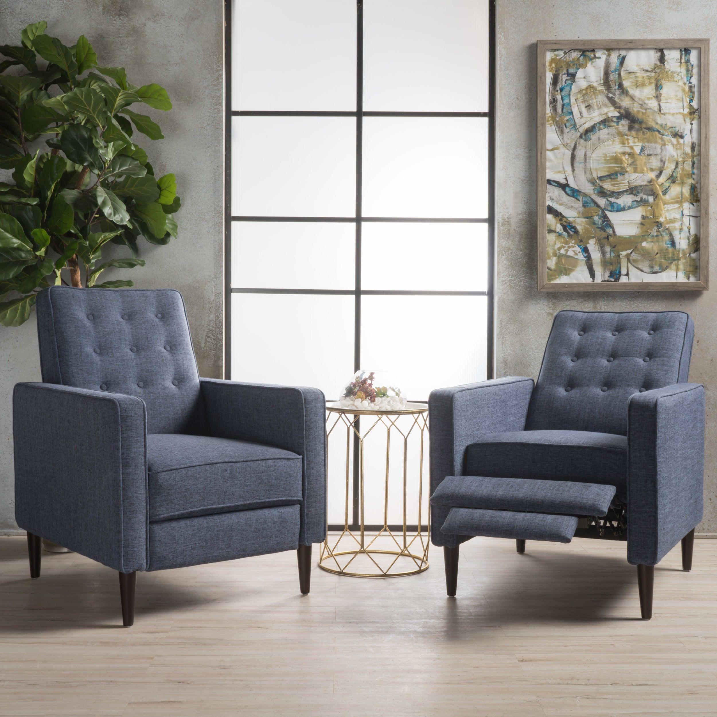Mervynn Mid-Century Fabric Recliner Club Chair (Set of 2 ...