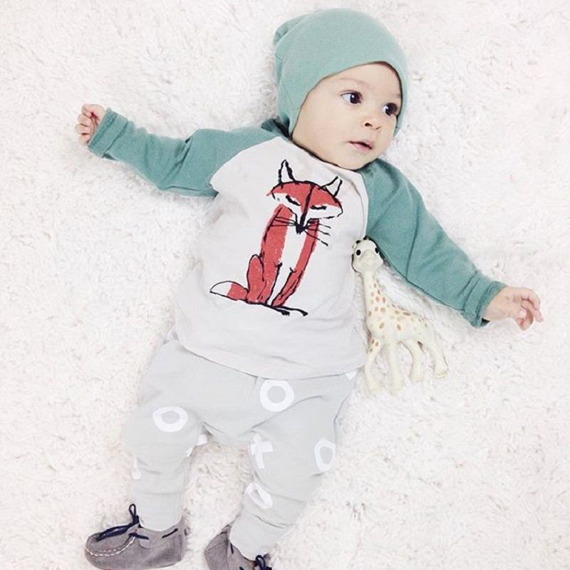 $8.43 (Buy here: http://appdeal.ru/4umt ) Newborn clothing set 2015 3pcs Baby Boys Girls Fox Top+Pants+Hat Set Newborn Infant Cotton Romper baby boy clothes High Quality for just $8.43