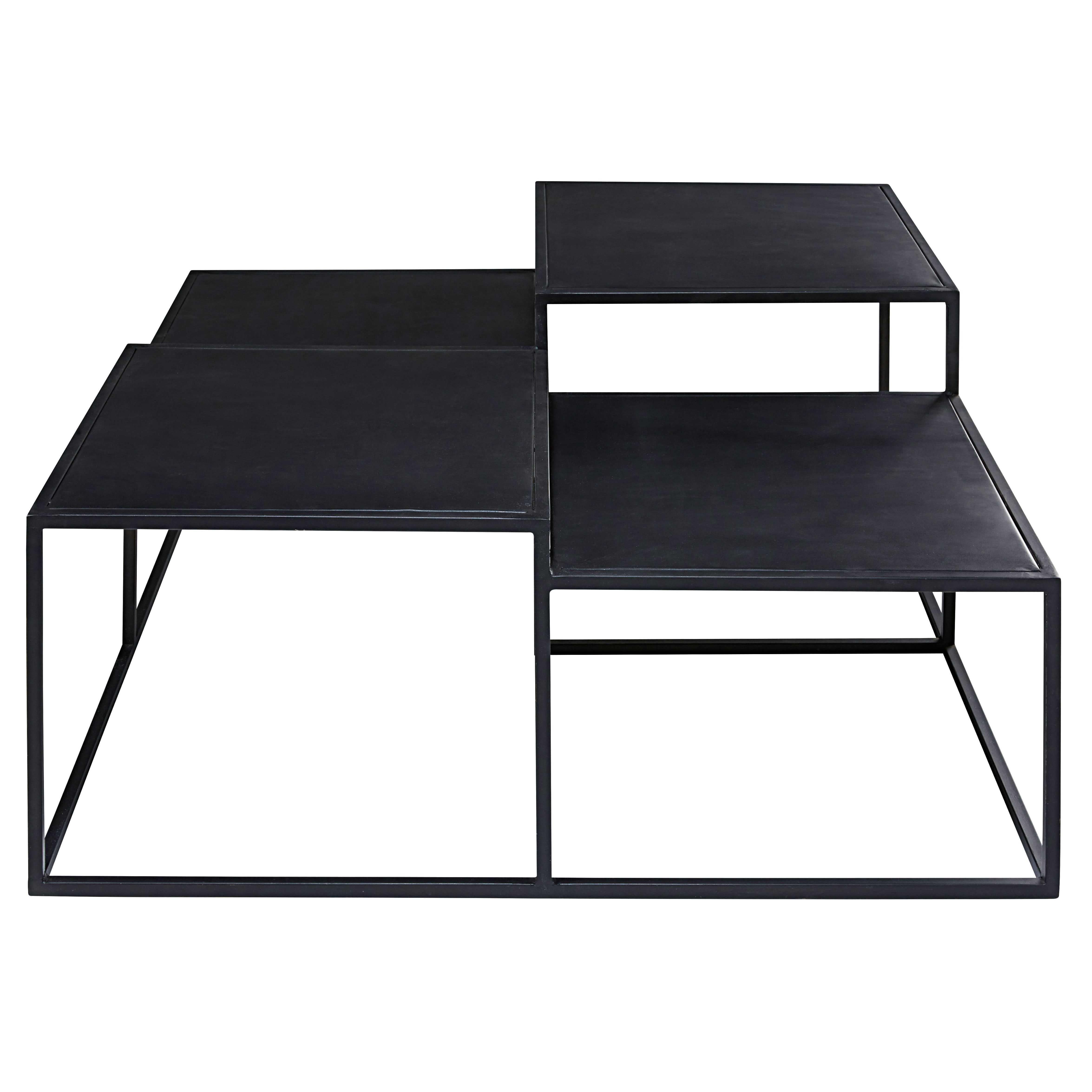 Table Basse 4 Plateaux En M Tal Noir M Tal Noir Table Basse Et  # Table Basse Noir Et Blanc Pas Cher