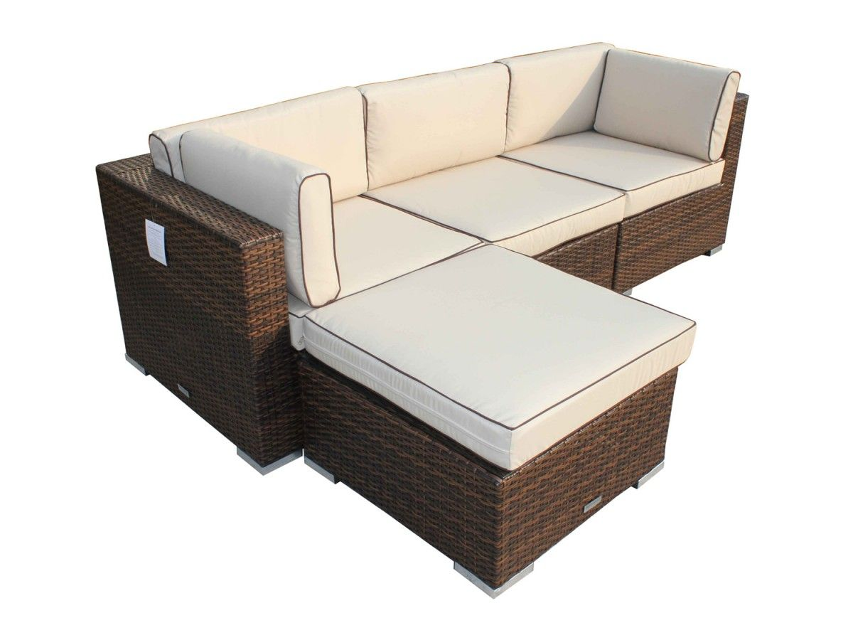 Florida 4 Piece Rattan Garden Corner Set In Chocolate And Cream Rattan Garden Corner Sofa Garden Sofa Set Outdoor Sofa Sets