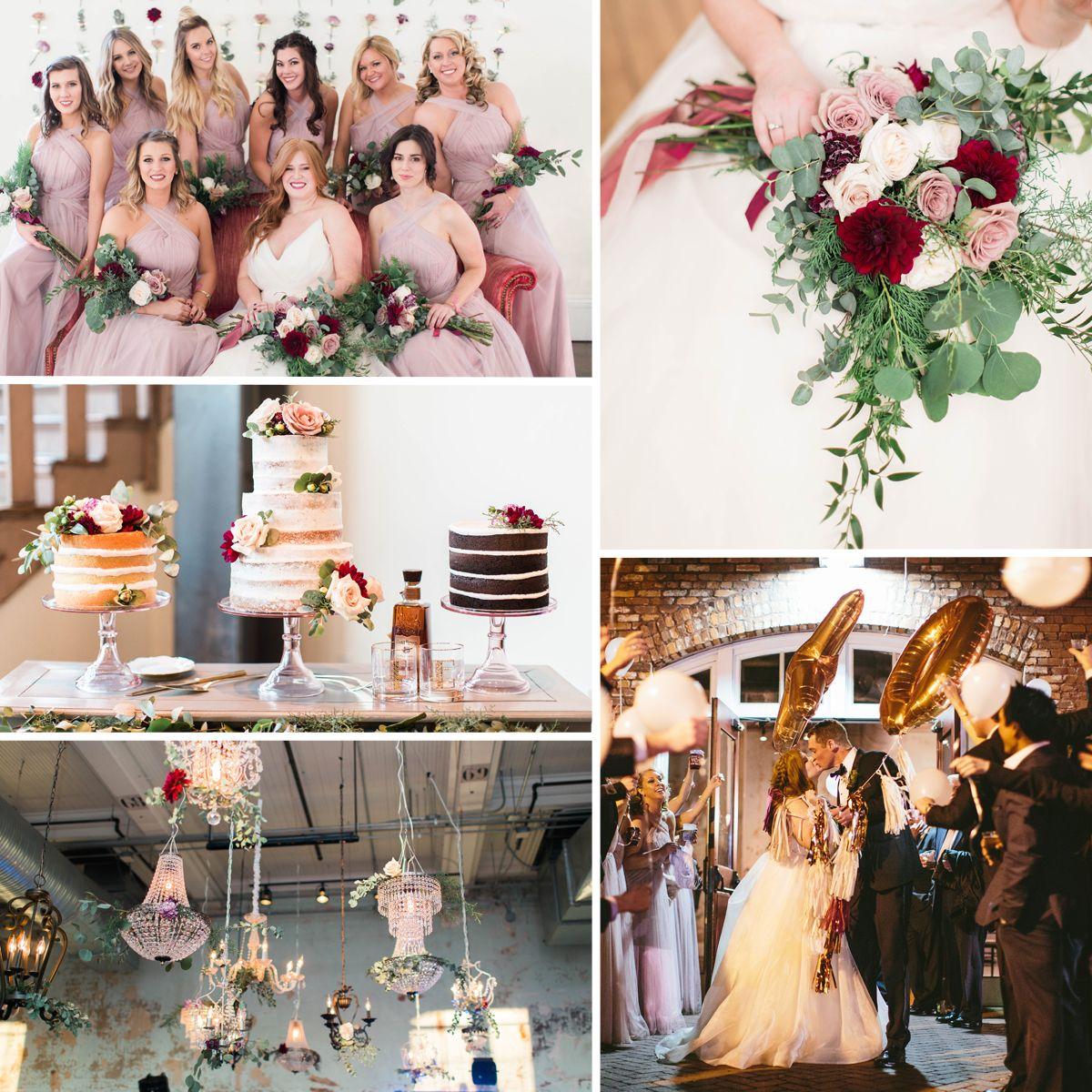 Real Wedding: Blush & Burgundy Winter Wedding | Burgundy ...