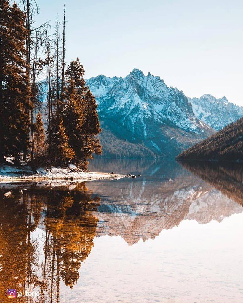 Stanley Idaho Gooutlocal Onlyinidaho Idaho Idaholandscapes Idahophotography Reflection Mountain Trees Water Lake Idaho Landscape Natural Landmarks