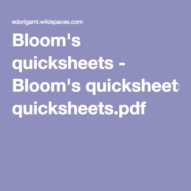 Bloom's quicksheets - Bloom's quicksheets.pdf