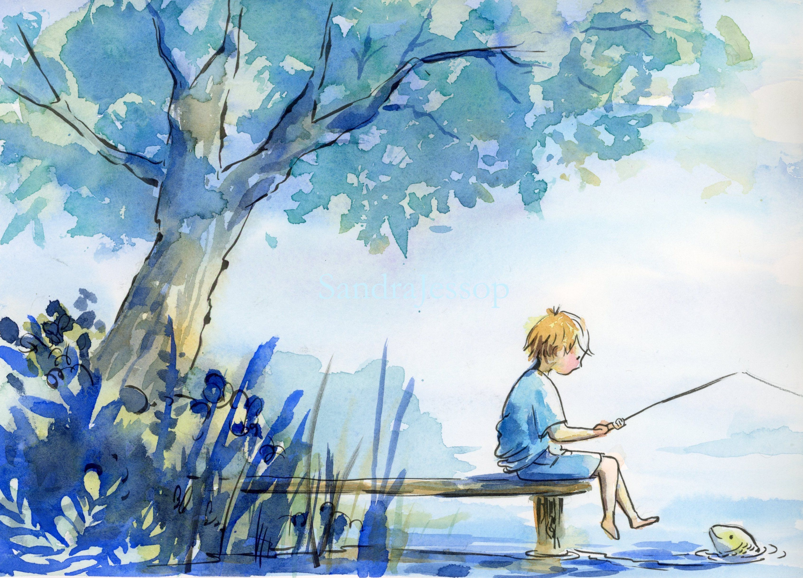 Boy And The Fish Watercolor Illustration Children Children Book Illustration Watercolor Picture Books Illustration