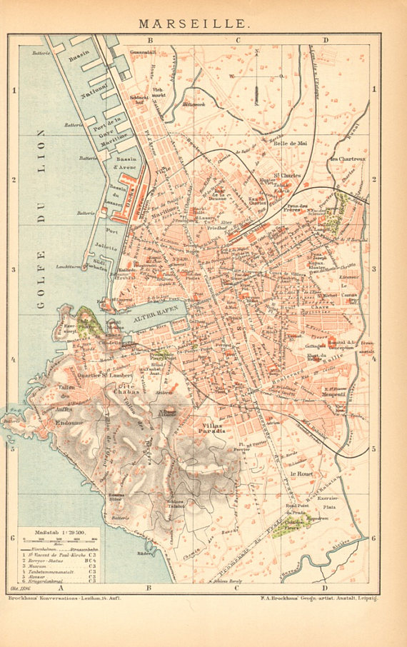 1896 Marseille France Original Antique City Map Dated Products
