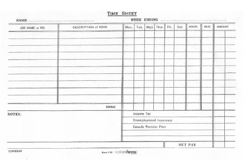 Figure  A Timesheet Used By Construction Workers  Construction