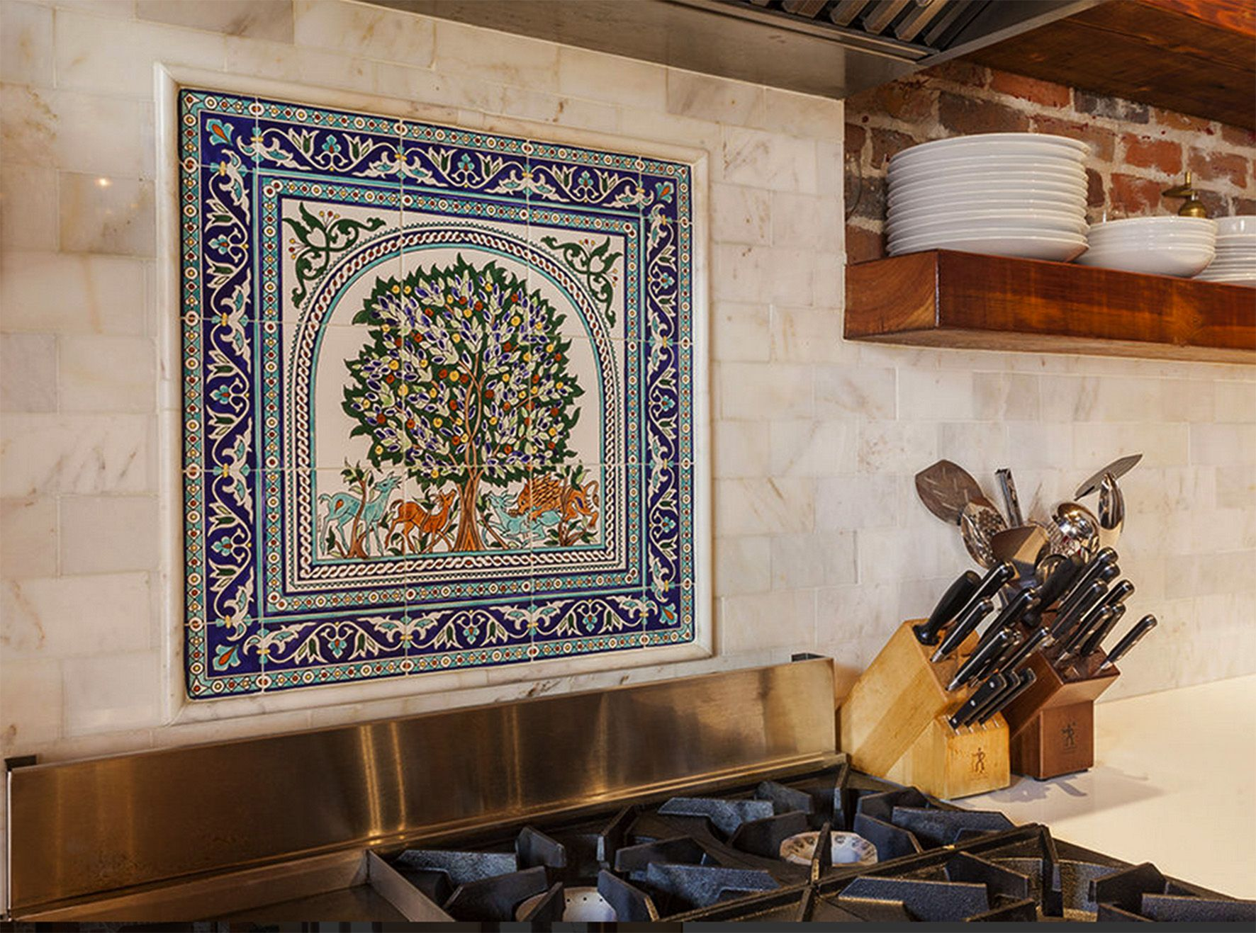 Dotans Kitchen Tile Back Splash With Unique Hand Painted Tiles