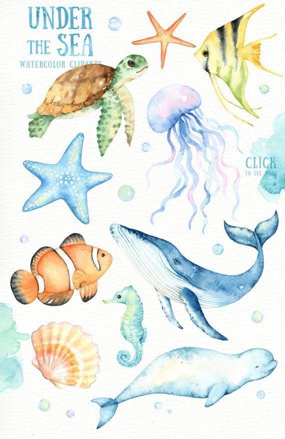 Unter dem Meer Aquarell Clipart, Kindergarten Drucke, Nautische Clipart, Kindergarten Kunst, …