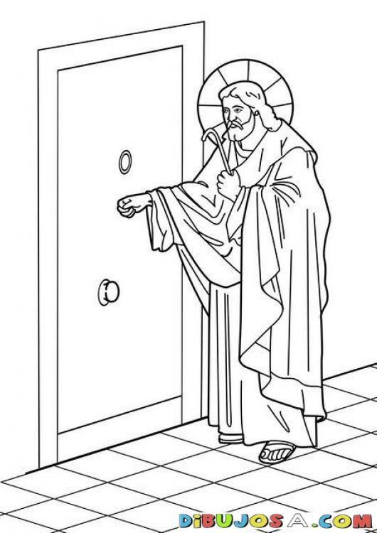 Dibujo De Jesus Tocando A La Puerta Colorear Biblicos Dibujo Para Pintar A Jesus Toca Paginas Para Colorear De Biblia Dibujos De Jesus Dibujos Para Pintar