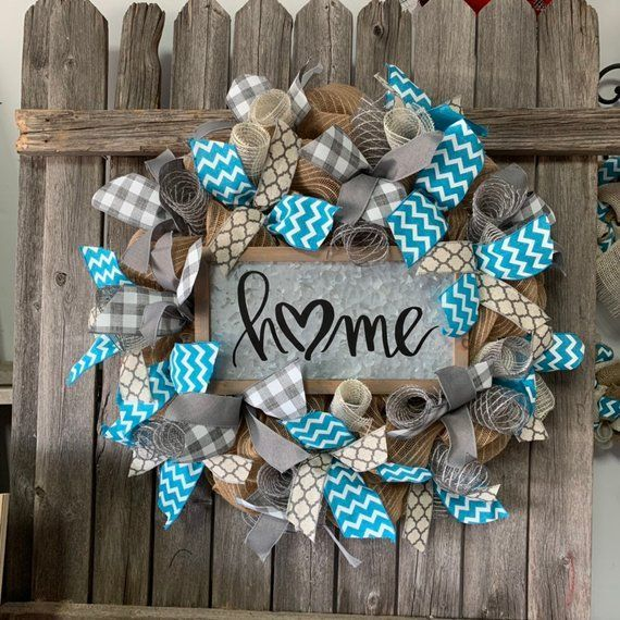 Photo of Turquoise Wreath – Grey Burlap Wreath – Everyday Farmhouse Wreath – Mother Day Gift – Home Si…