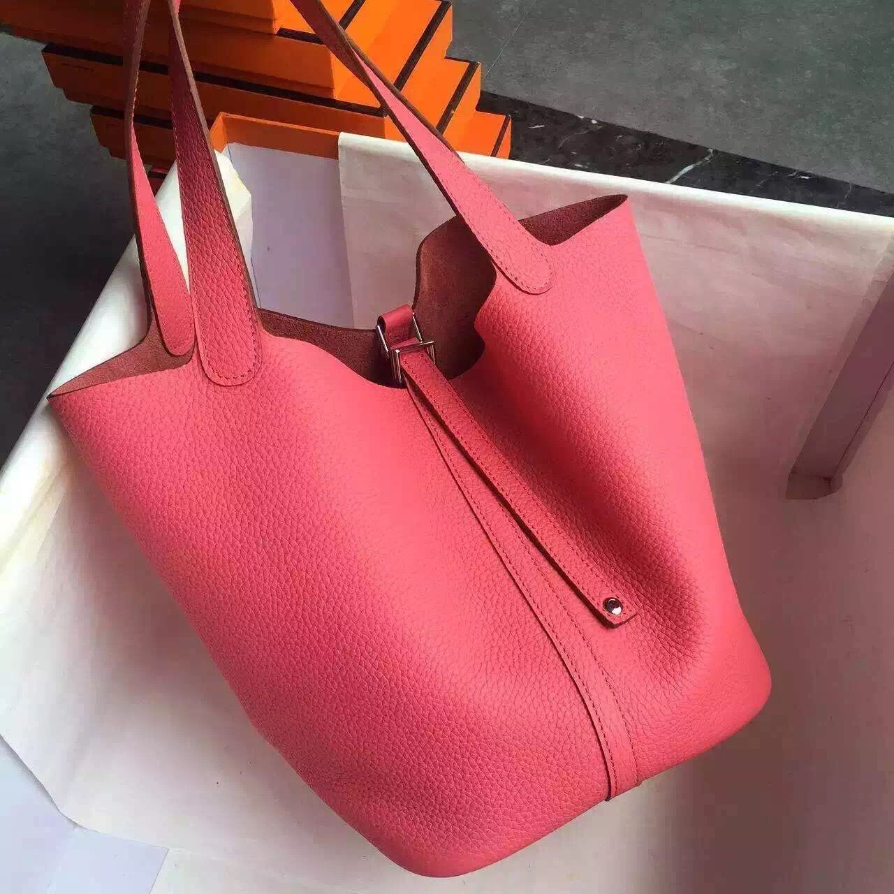 4775bf0519b8 Hermes Original Togo Leather Picotin Lock PM MM Bag Watermelon Red ...