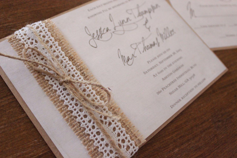 Calligraphy Wedding Invitation,Shabby Chic Wedding Invitation,Burlap ...
