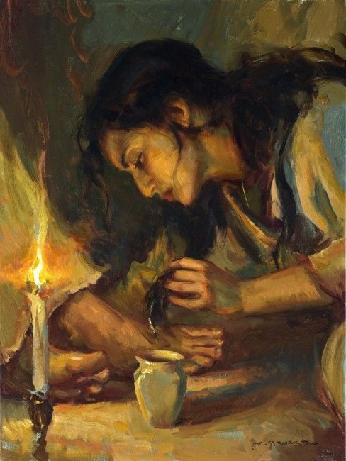 And behold a woman, which was a sinner, brought an alabaster box of ointment and stood at Jesus' feet weeping, she began to wash His feet with tears, and did wipe them with her hair...(Luke 7:37-38)