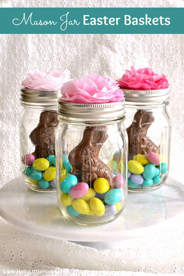 Mason Jar Easter Baskets Homemade Easter Baskets Easter Crafts