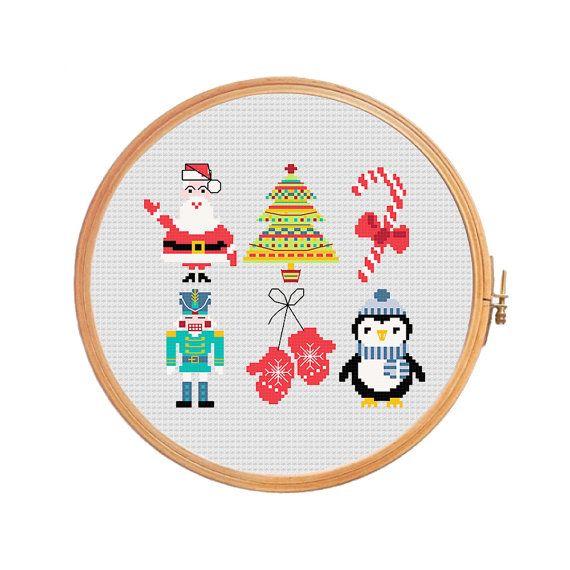 Cristmas mini set 1 - modern cross stitch pattern christmas design advent Santa Claus christmas tree candy cane penguin nutcracker mittens