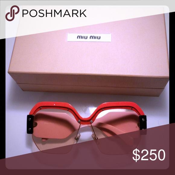 61474ead27d Miu Miu Fashion Glasses Pink and Red Miu Miu Sunglasses Box included Miu Miu  Accessories Sunglasses