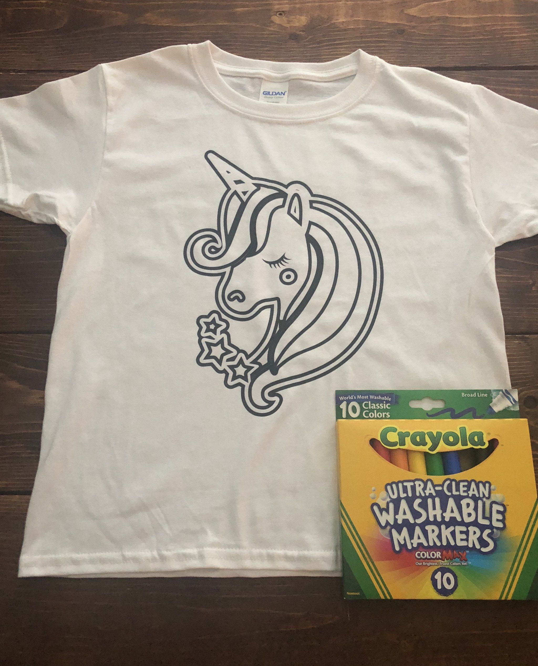3ddc1664c Unicorn Coloring Shirts with washable markers | Tweens and Teens ...