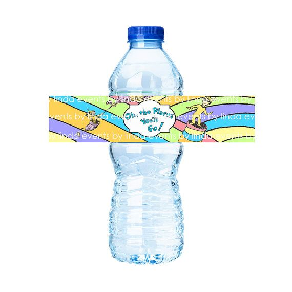 Oh the Places Youu0027ll Go - Water Bottle Label (printable) - Digital - water bottle label template