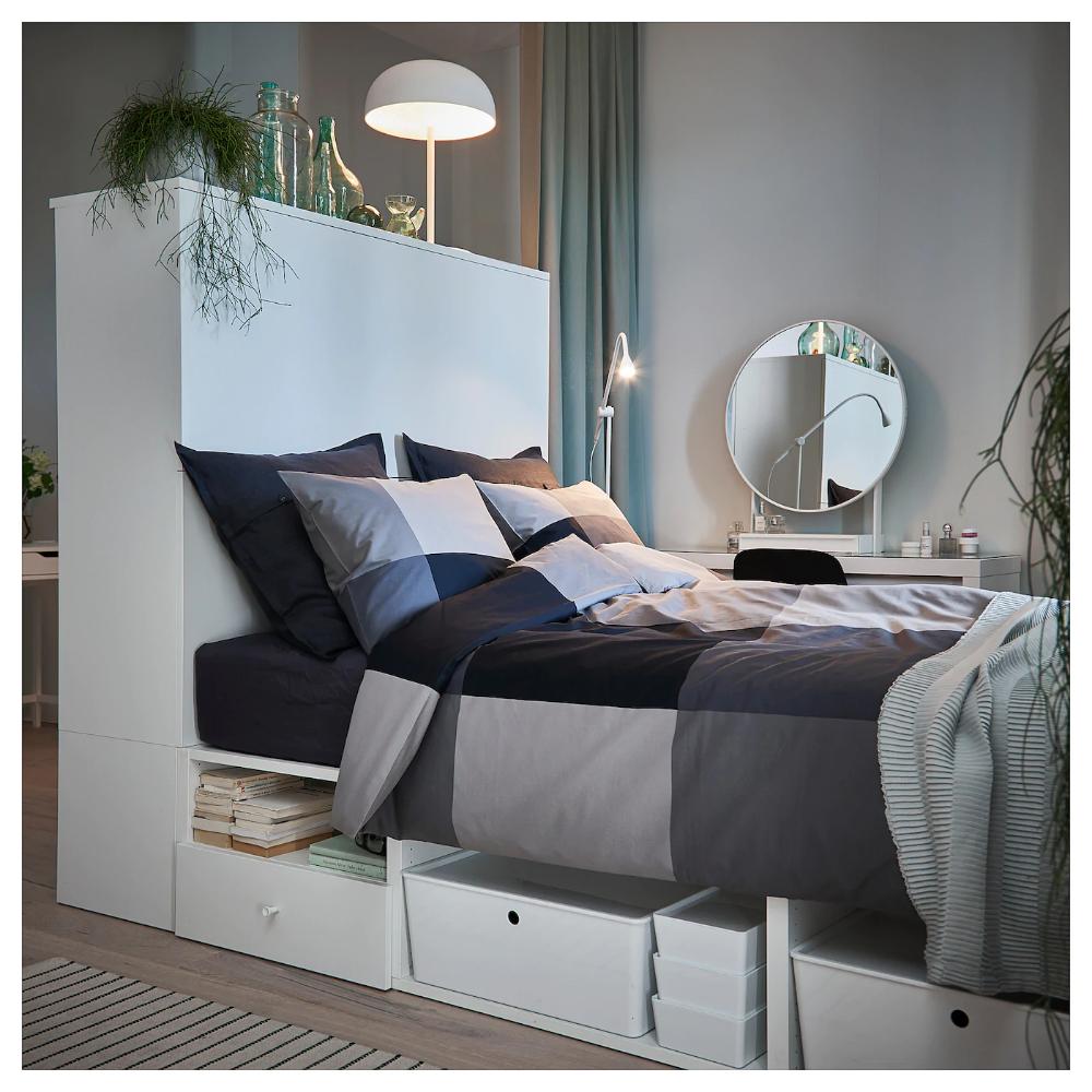 Platsa Bettgestell Mit 2 Turen 3 Schubl Weiss Fonnes Ikea Deutschland Bettgestell Wohnung Schlafzimmer Ideen Fur Kleine Schlafzimmer