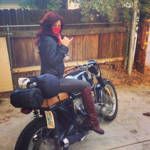 motolady:  Misty Whitten and her vintage 1977 BMW r100/7 motorcycle all packed up for a camping trip.  [ more photos of Misty | BMW motorcycles ]