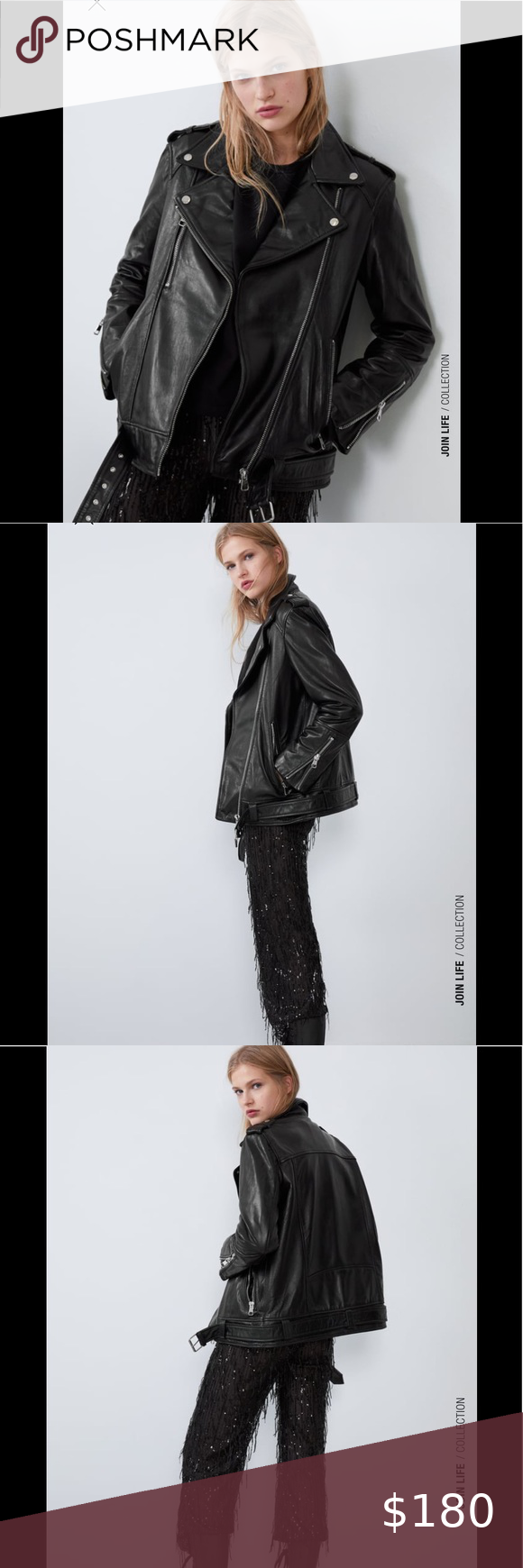 Oversized Leather Jacket Brand New With Tag Zara Real Leather Biker Jacket 100 Sheep Leather Lining 100 Polyeste Leather Jacket Brands Leather Jacket Fashion [ 1740 x 580 Pixel ]