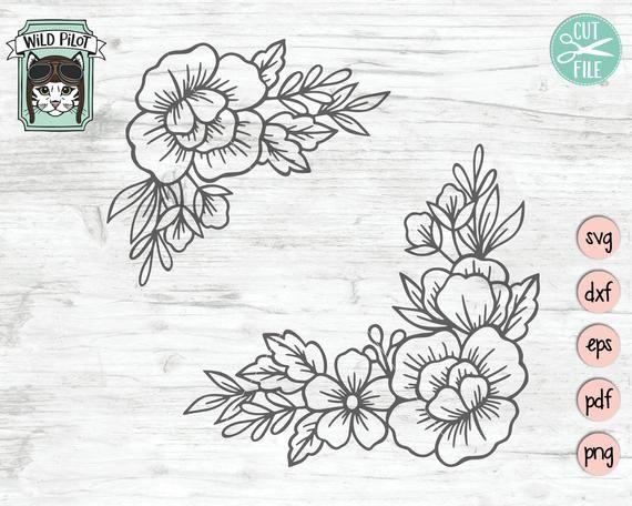 Flowers SVG flower cut file Flower corner svg Flower arrangement SVG Floral border SVG