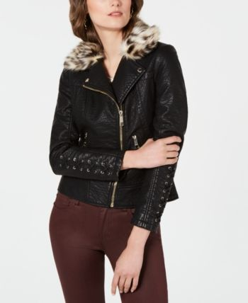 Guess Faux-Leather Moto Jacket with Leopard-Print Faux-Fur ...