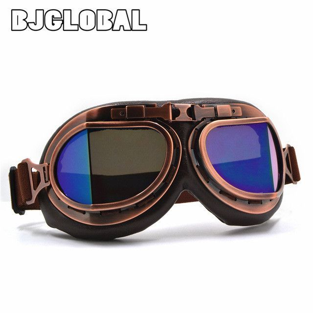 2016 NEW Arrival WWII Vintage motorcycle goggles Harley style Pilot Motorbike goggles Retro Jet Helmet Eyewear 5 color lens