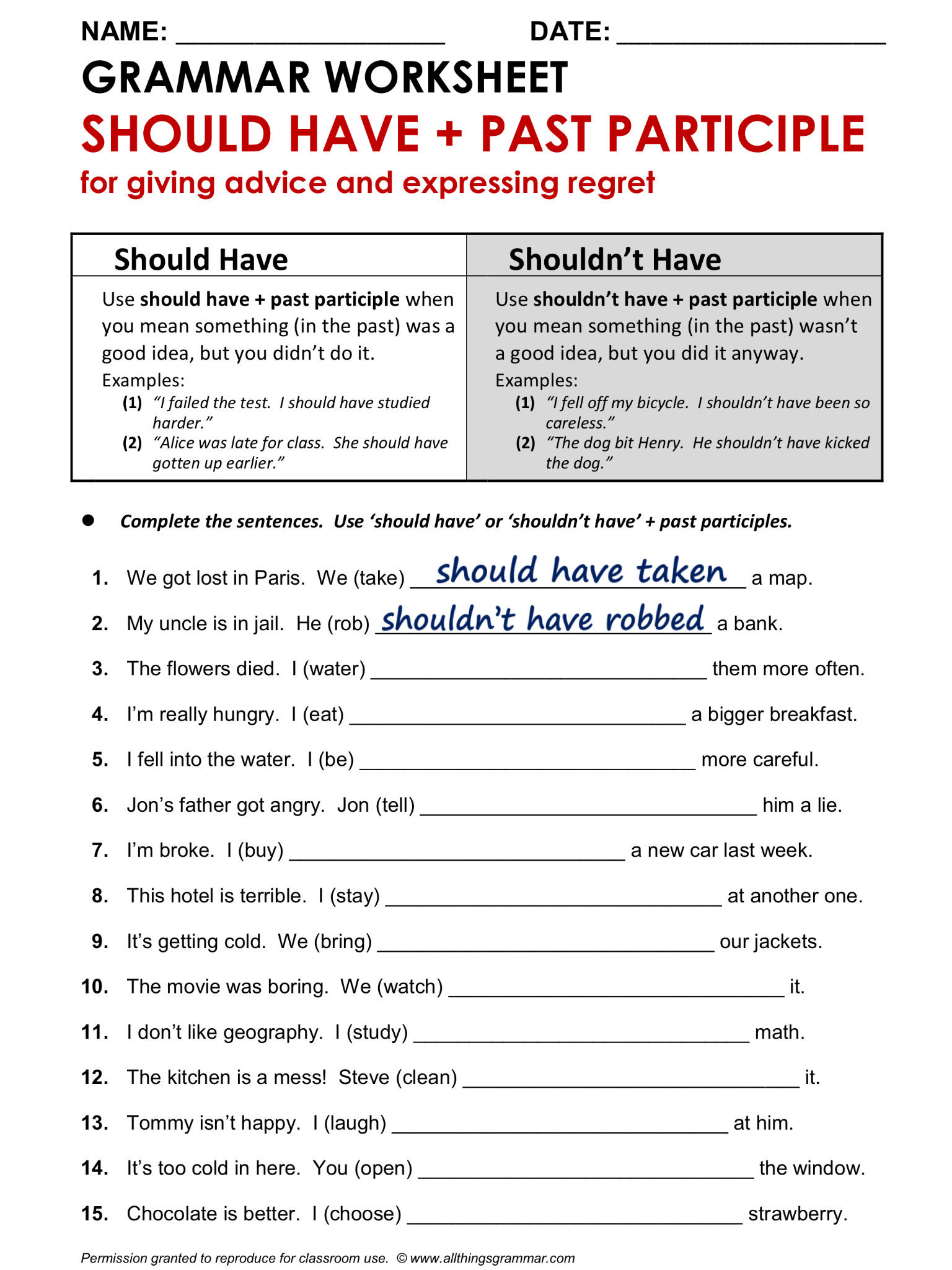 English Grammar Worksheet, Should Have + Past Participle 1/2. http ...