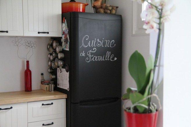 Le frigo repeint à la peinture ardoise, c\u0027est une super idée, non - peinture porte et fenetre