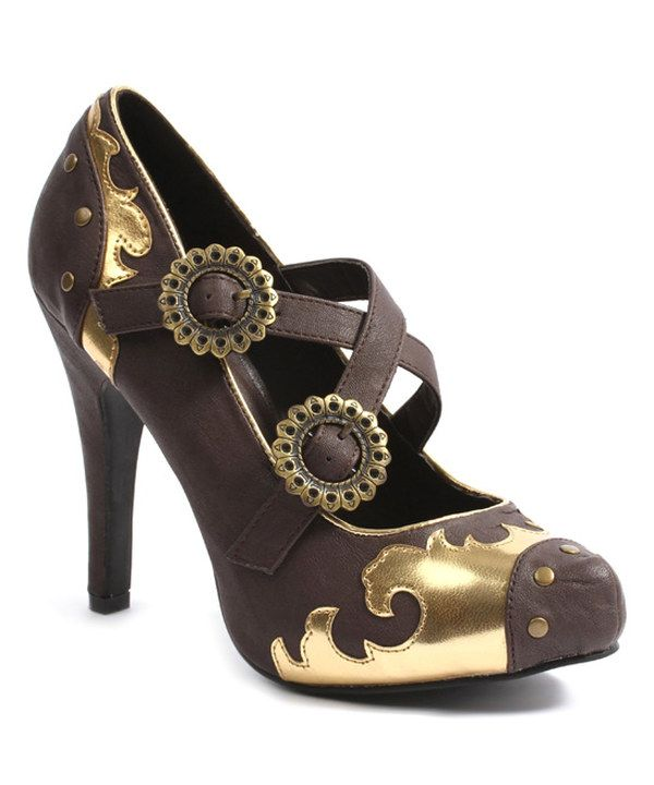 Look at this Ellie Shoes Brown Steel Pump on #zulily today!