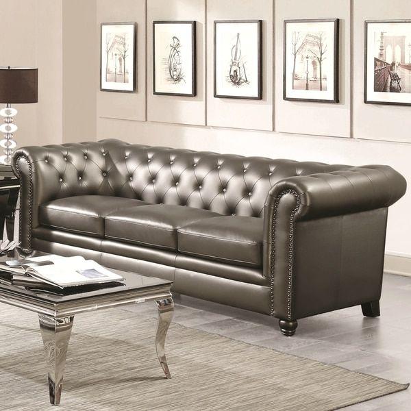 Royal Mid Century Sofa With Crystal Button Tufting Design And Nailhead Trim  Furniture Sofa Set