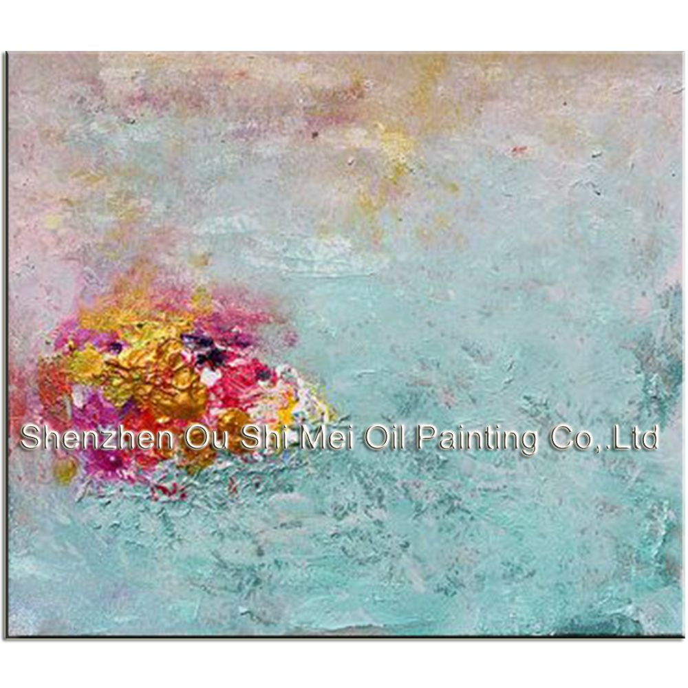 Hand painted modern oil painting on canvas from manufacturer blue