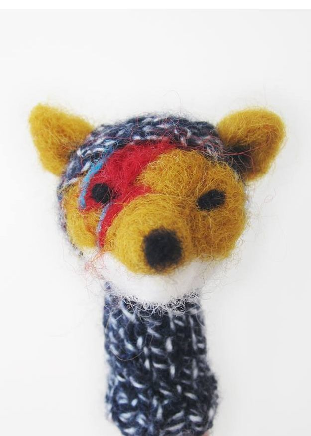 David Bowie fox fingerpuppet by Lazy Animals