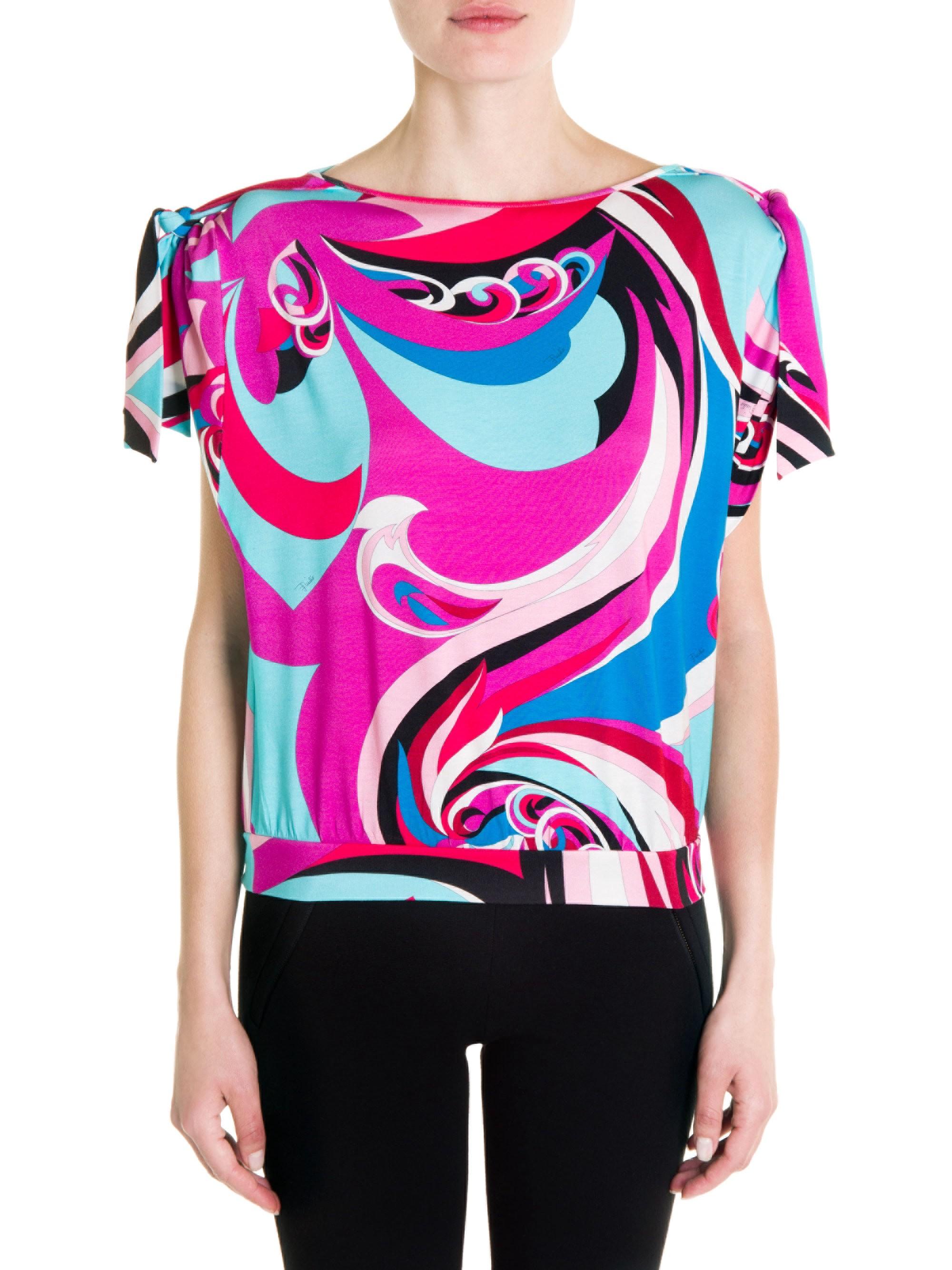 b673aac3a5c5a1 Emilio Pucci Silk Jersey Short-Sleeve Top - Pink Blue Parrot Print 44 (10)