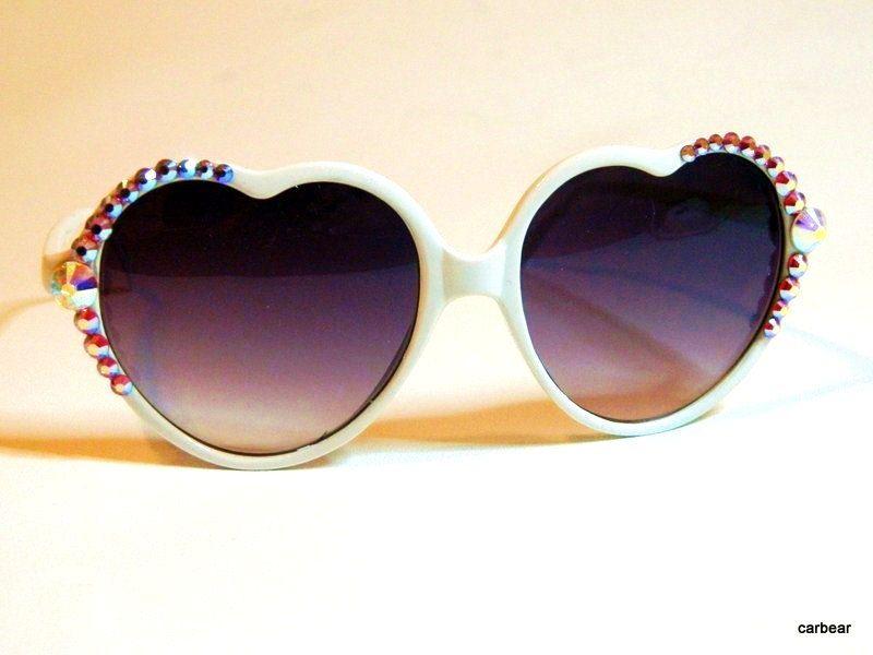 Sun glasses White Hot  Heart Custom Crystal big by CarleaPink