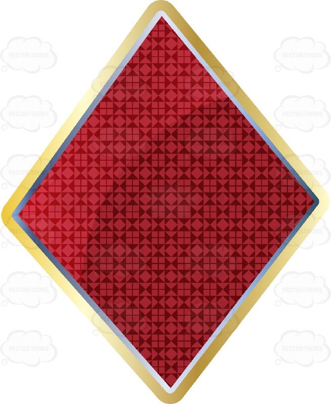 Red Diamond Card Suite Symbol Outlined In Gold With Smaller Diamond