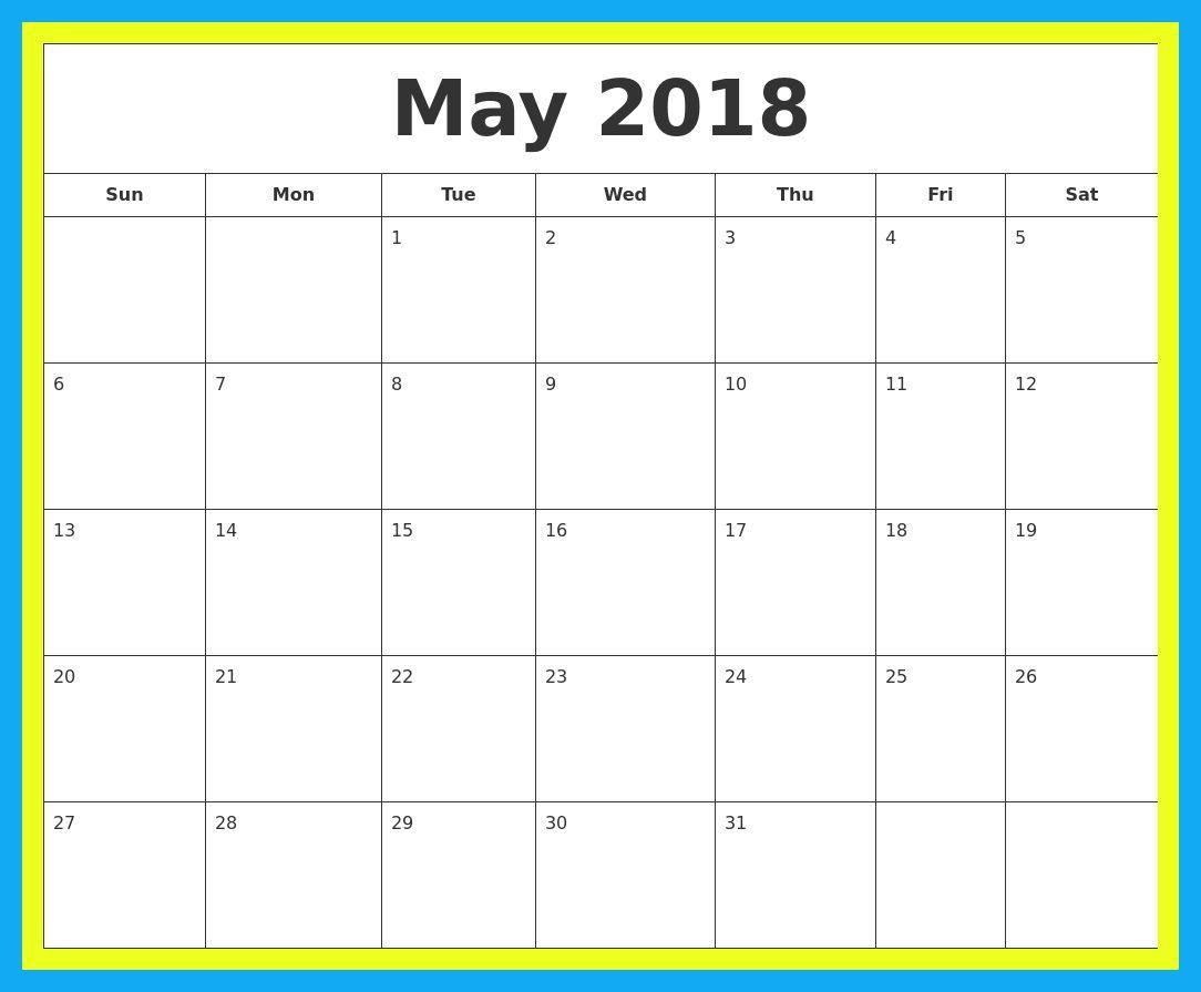 Free May 2018 Editable Calendar 2018 Calendars In 2018 Pinterest