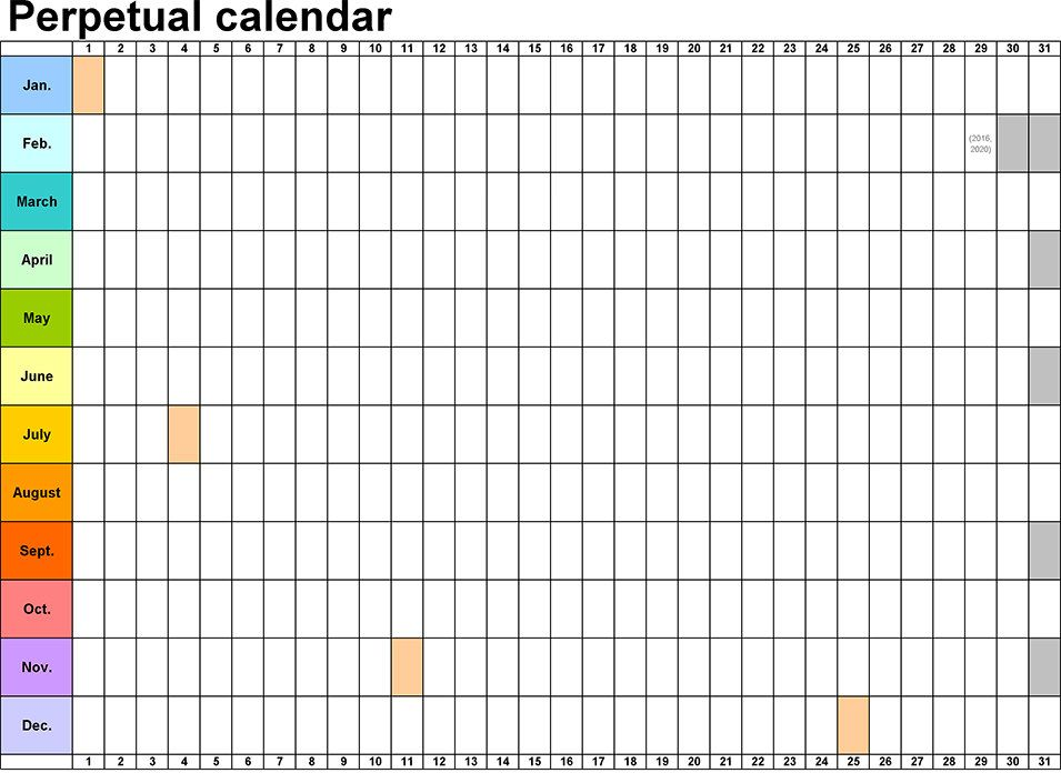 Perpetual Calendar - Calendar Template paper Calendar, Blank