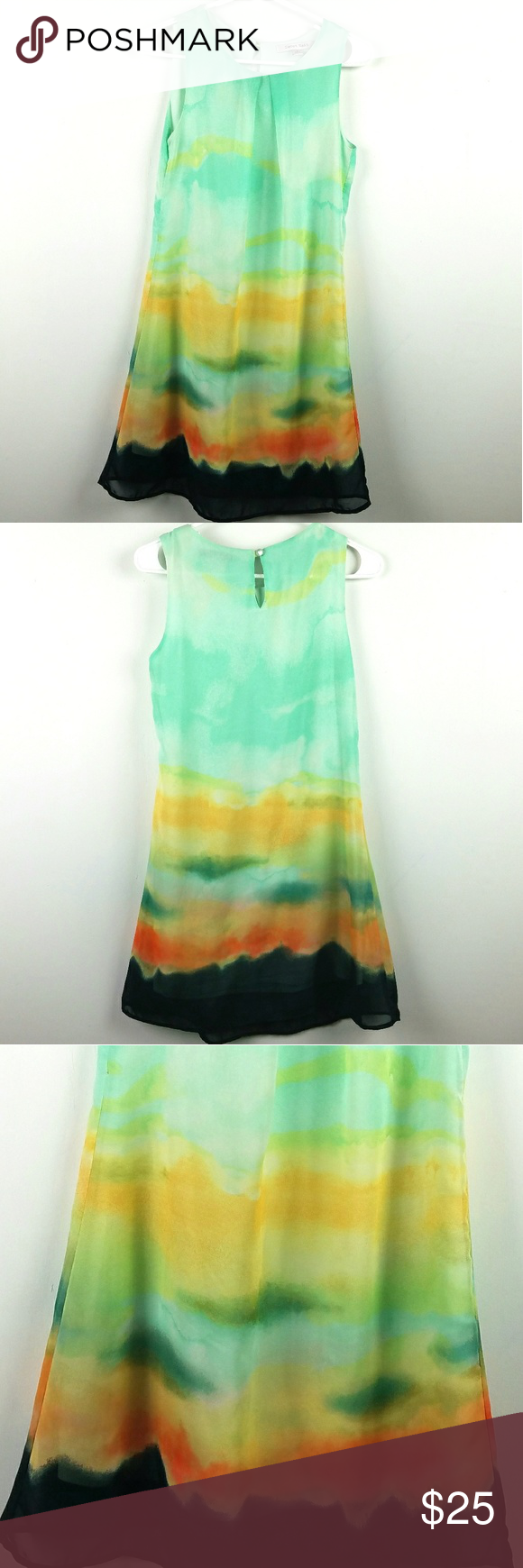 1695984cf37b Sweet Rain Mint Watercolor Dress Sz Small Stunning! Looks like a watercolor  sunset! Size Small Keyhole cutout in the back Sweet Rain Dresses
