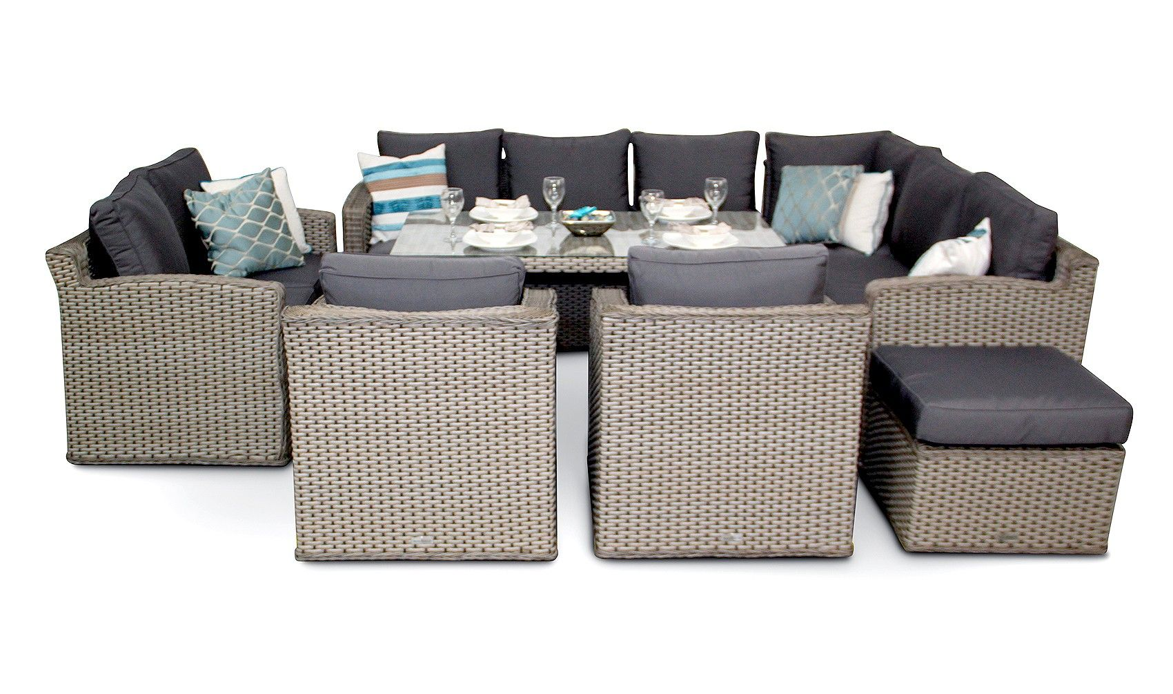 Groovy Grand Chelsea Rattan Outdoor Sofa Dining Set Whitewash Inzonedesignstudio Interior Chair Design Inzonedesignstudiocom